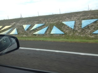 My attempt to capture the art installation on the road... Much cooler in person. It went on for miles, with all these colored shapes.