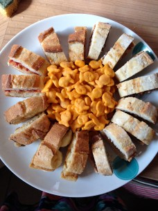 Peanut Butter Sampler: pb&j, pb&nutella, pb&banana sandos with a Goldfish garnish. Aka, I'm a pro at snacks