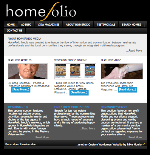 HomeFolio Media - a custom wordpress designed website