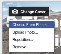 the Facebook cover image drop down