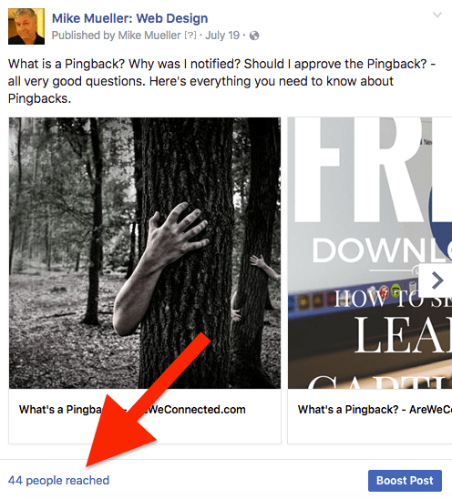 The typical organic reach of posts on a FB page