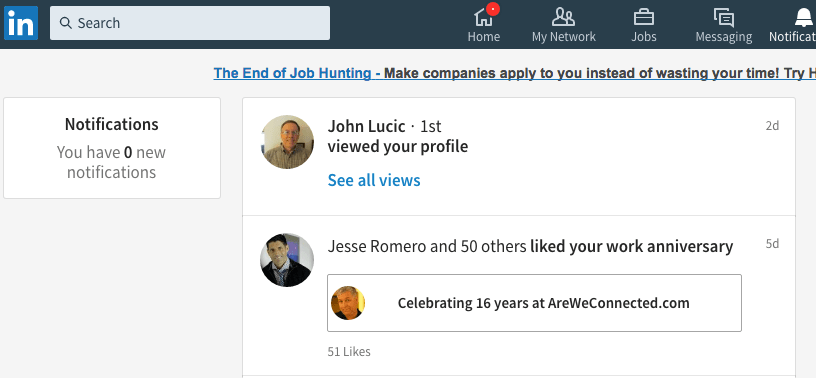 The Notifications Tab in the new Linkedin Dashboard