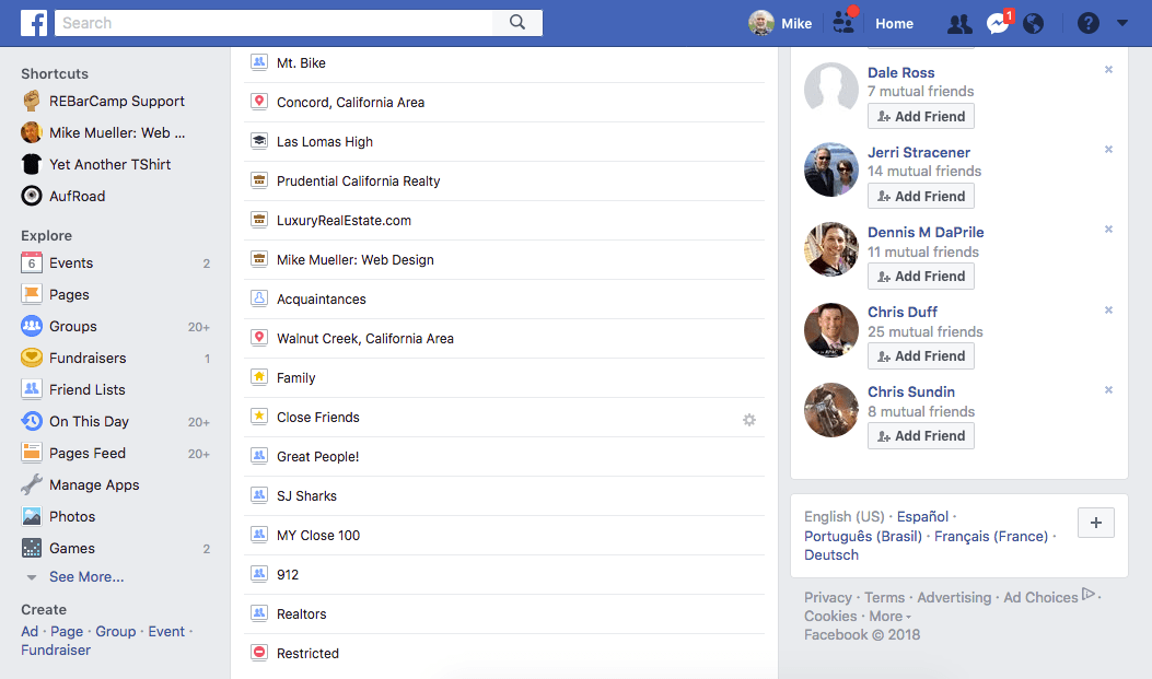 Some of my lists on Facebook