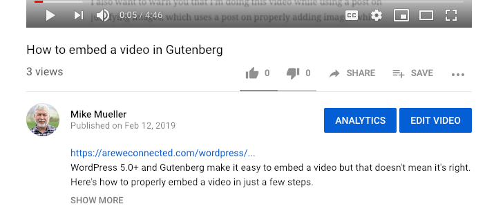 Link in video description leading back to this post