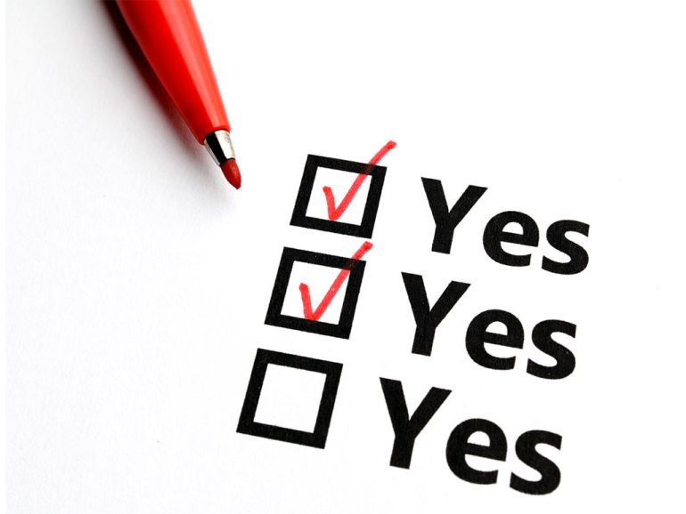 checkboxes of all yes