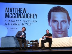 YOUNTVILLE, CA - NOVEMBER 10: Matthew McConaughey and Moderator Mike Fleming attend the Matthew McConaughey Caldwell Vineyard Maverick Actor Tribute at the Lincoln Theater during the 2016 Napa Valley Film Festival on November 10, 2016 in Yountville, California.
