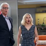 "THE GOOD PLACE -- ""Michael's Gambit"" Episode 113 -- Pictured: (l-r) Ted Danson as Michael, Kristen Bell as Eleanor Shellstrop"