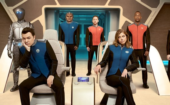 THE ORVILLE: L-R: Penny Johnson Jerald, Mark Jackson, Seth MacFarlane, Peter Macon, Scott Grimes, Adrianne Palicki, J. Lee and Halston Sage