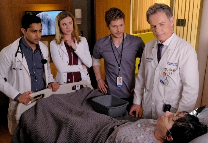 THE RESIDENT: L-R: Manish Dayal, Emily VanCamp, Matt Czuchry and Bruce Greenwood