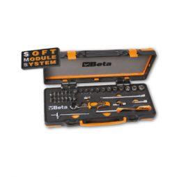 Jogo com 12 chaves sextavadas, 20 pontas e 7 acessórios em módulo flexível e caixa metálica.