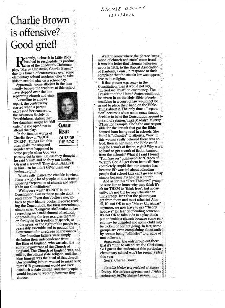 Charlie Brown Article Saline Courier