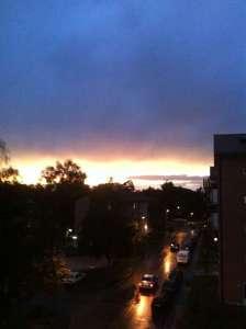 Himmel, utsikt från balkongen