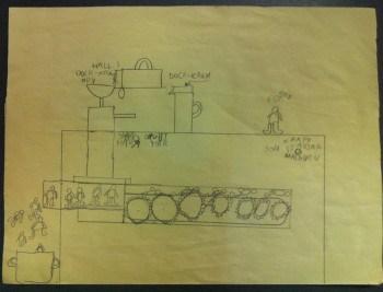 Teckning i blyerts som föreställer en fabrik som tillverkar dockor