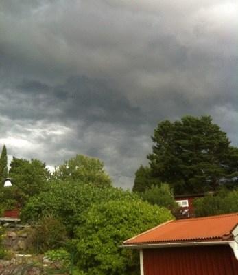 Åskväder, stora svarta moln!