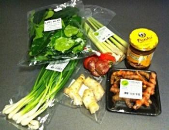 Asiatiska ingredienser, galangal, färsk gurkmeja, limeblad, citrongräs, salladslök och tamarindpasta. Asiatisk mataffär.