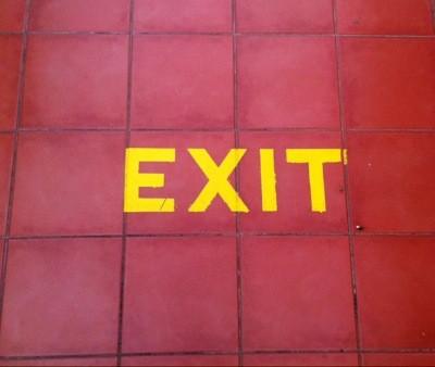 Exit-skylt. En aning problematiskt.
