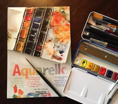Akvarellset, block, färg och penslar