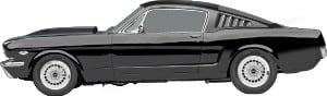 Ford Mustang. Rusar till en jobblunch.