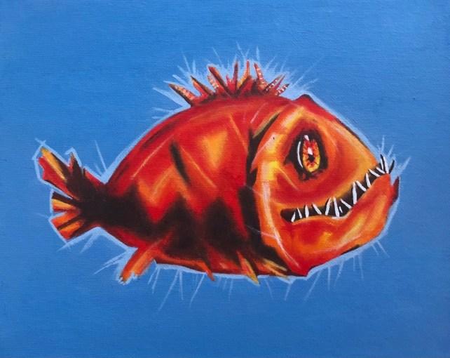 Fisk i akrylfärg