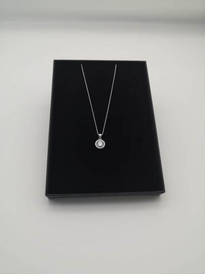 925 silver rhodium plated cz pendant in eco friendly jewellery case