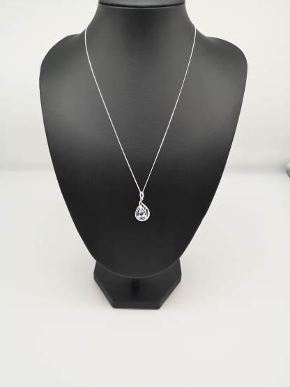 sterling silver white topaz teardrop pendant