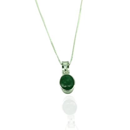 silver emerald oval pendant