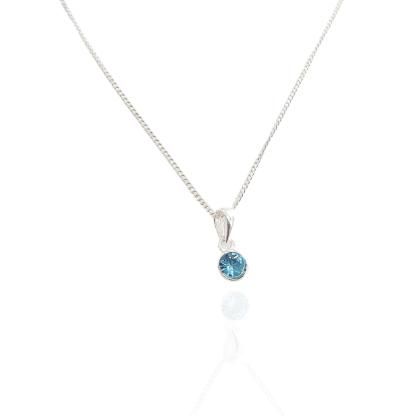 silver light blue birthstone pendant mar
