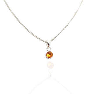 silver orange birthstone pendant nov
