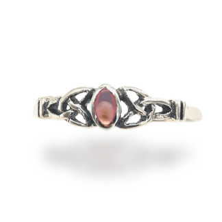 silver pink pearl celtic ring
