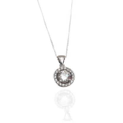 silver rhodium plated cz pendant