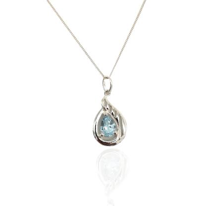 silver white topaz teardrop pendant