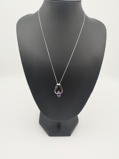 Sterling Silver Marquise Amethyst Ribbon Pendant