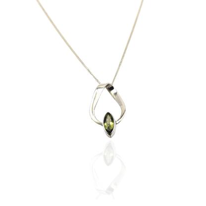 silver peridot ribbon pendant
