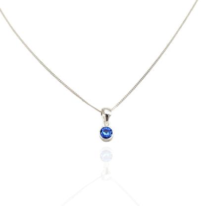 silver blue birthstone oendant sept