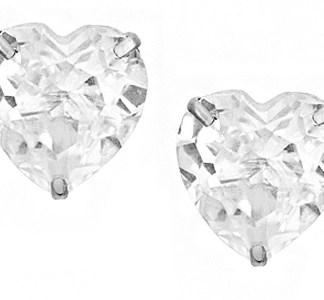 925 silver 3 claw cz heart earrings