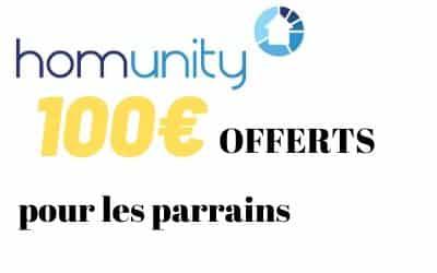 Offre parrainage HOMUNITY - Code Bonus 100€