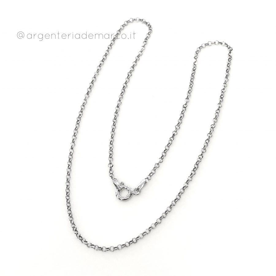 argento 925 made in Italy mis 08x0,8 mm. 1 catenina modello cobra lunga 45 cm