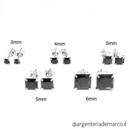 Orecchini Zirconi Neri Quadrati