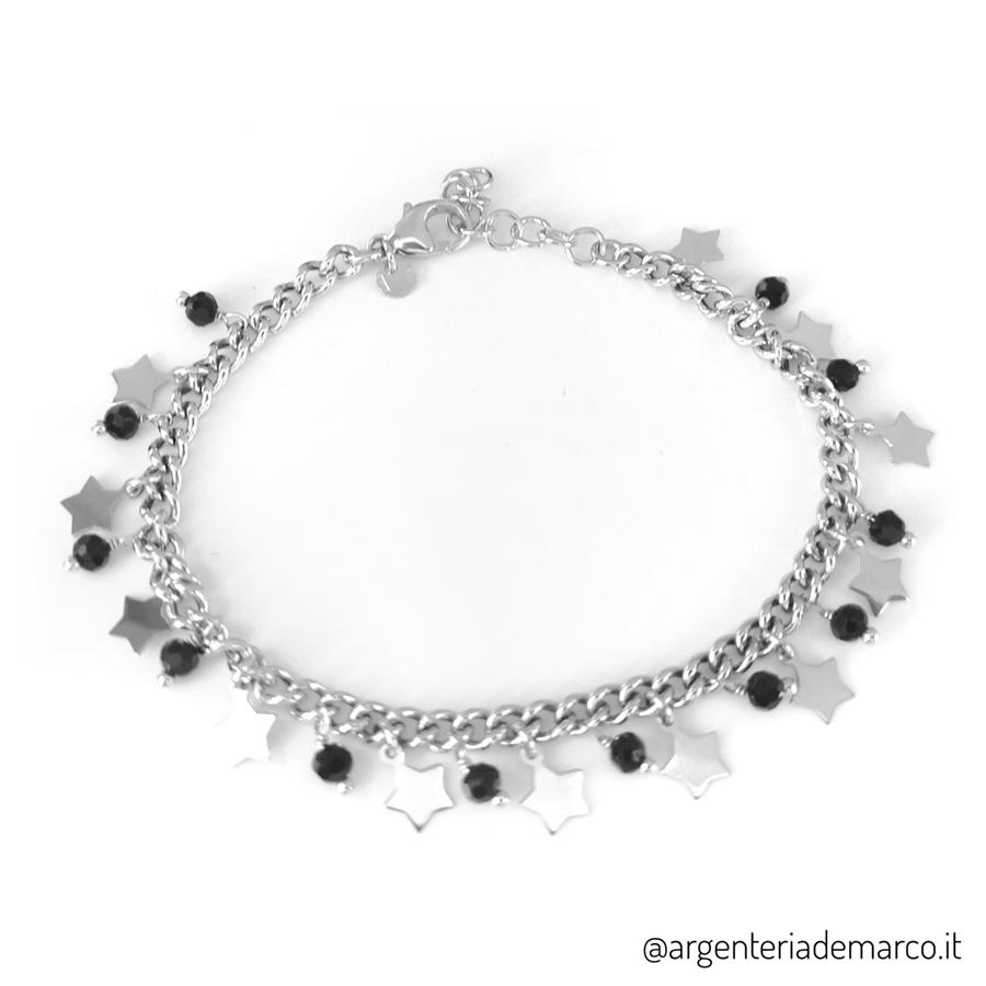 Bracciale in argento 925 con stelle e cristalli neri