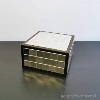 Cofanetto Mosaico 18x18 h12 in Argento e legno di radica AE0126/SC