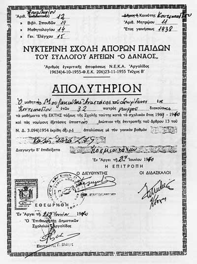 Απολυτήριον 1969-1970