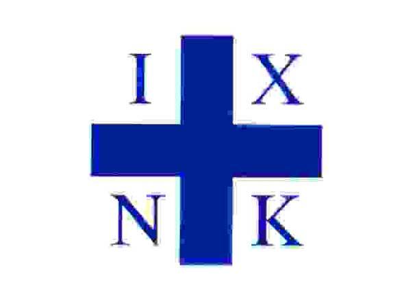 """Η σημαία του Δ.Πλαπούτα με το μονόγραμμα """"Iησούς Χριστός ΝιΚά"""""""