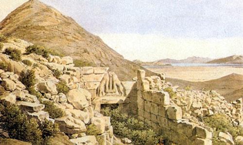 Η πεδιάδα του Άργους και των Μυκηνών. Λεπτομέρεια λιθογραφίας που σχεδίασε ο Stackelberg και χάραξε  ο Brulloff.