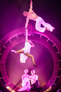 Acrobats flying high - Aerial Straps Act - Argolla Show