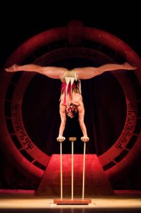 Woman in Handbalancing Act - Argolla acrobatic show