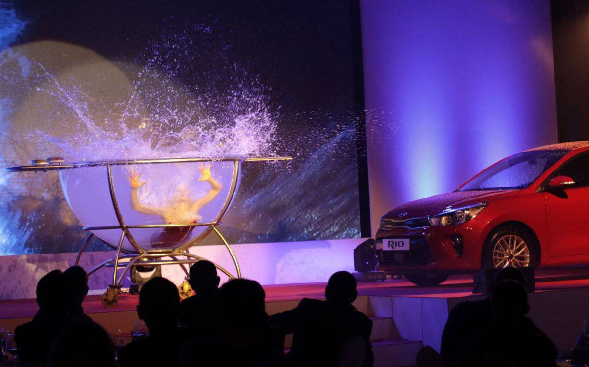 water bowl acrobatic show - corporate entertainment - Kia Car Launch