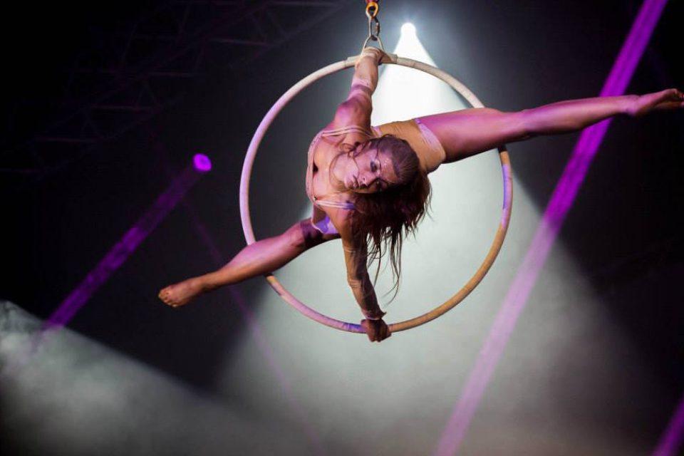 Acrobat performing on aerial ring - Argolla show