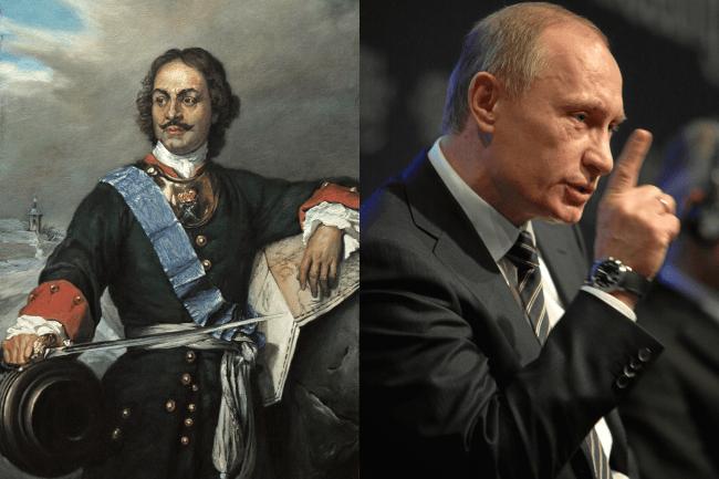Kollasj: Peter den store og Vladimir Putin.