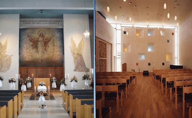 Fotografier av (t.v.) Hamar gravkapell og Bodin seremonirom.