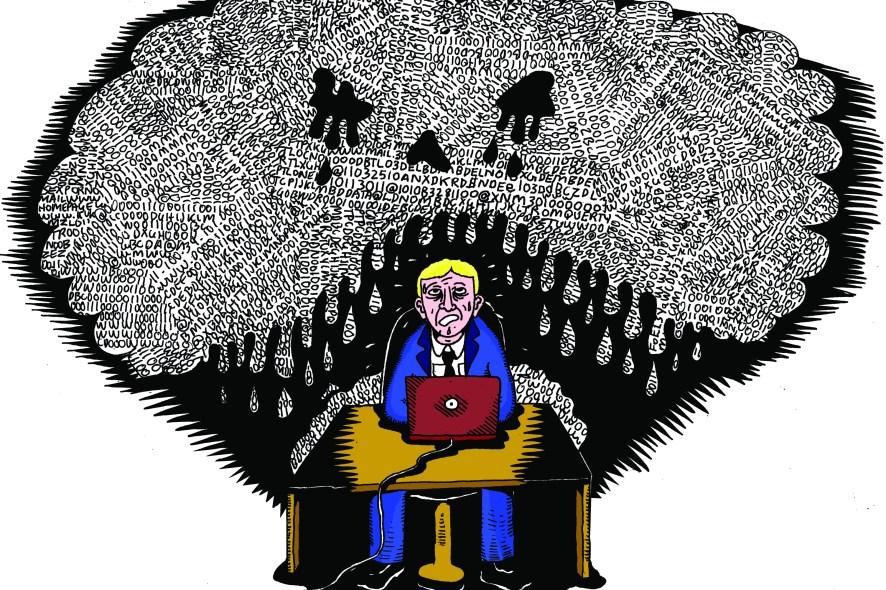 Tegning av en vitenskapsmann som svetter i møtet med altfor store data.